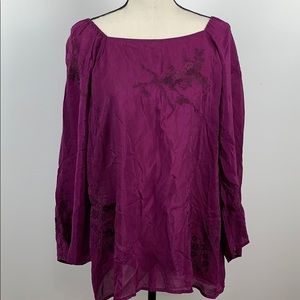 J.Jill Sheer Long Sleeve Blouse Size XL